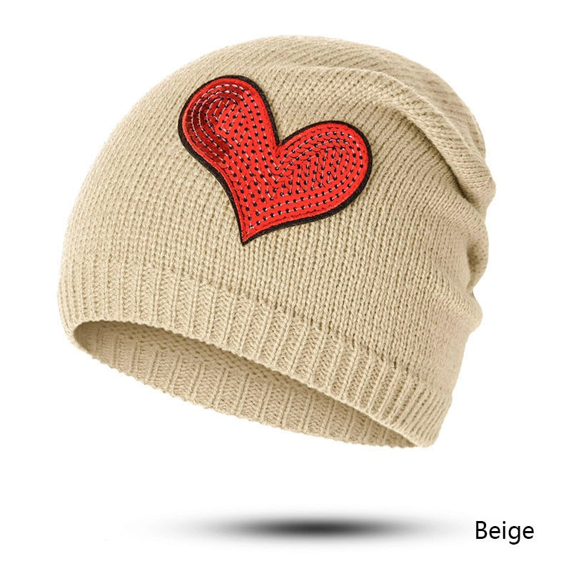 9f5df570311 Women Knitted Winter Hat Cap Casual Beanies Female Solid Color ...