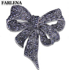 Jewelry Unique Large Bow Brooch Pins Inlay with Black Rhinestones Vintage Brooches for Women Dress Hat Accessory