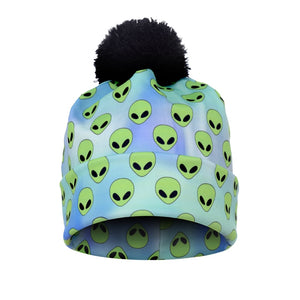 2017 New Autu and Winter Women 3D Printed Alien Green Warm Pompon Hat Beanies Unique Colorful Nice Knitted Hat