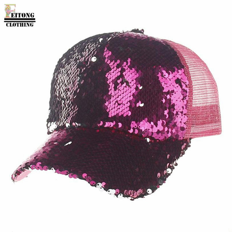 2017 Punk Mesh Cap Adjustable Sequins Snapback Outdoor Sports Hip Hop Men Women Solid Baseball Cap