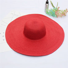 Load image into Gallery viewer, Elegant Women Straw Hat Packable Wide Brim Sun Hat Ladies Shade Floppy Kentucky Derby Hat Summer Beach Hat DIY Boater Cap
