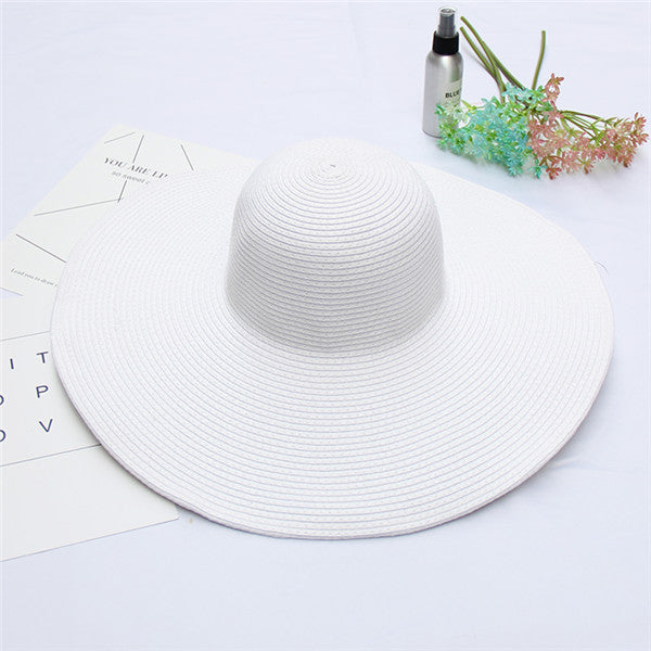 385ad9d9d Elegant Women Straw Hat Packable Wide Brim Sun Hat Ladies Shade Floppy  Kentucky Derby Hat Summer Beach Hat DIY Boater Cap