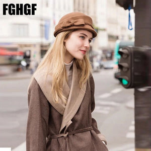 Women Wo Felt Fedoras Soild Nice Bow Adorn Round Top Women Pillbox Hats Autu Winter Beret Stewardess Cap in Black Wine