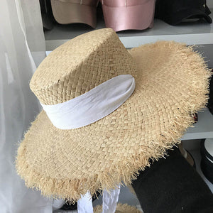 Women s Weave Raffia Sun Hats Wide Brim Summer Beach Hat White Black Ribbon  Lace Up Straw 6a71f6c988b