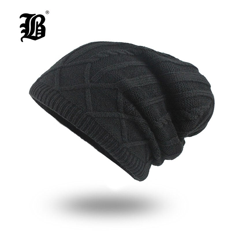 FLB  Men s Winter Hat Fashion Knitted Black hats Fall Hat Thick and ... 4e4d74eff05