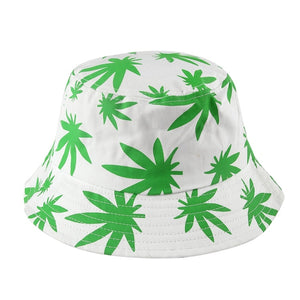 26c7e211171d73 New Hip Hop Unisex Green Black Color Weed Leaves Print fishing Caps Gorros  Bucket Hat Outdoor Men Womens