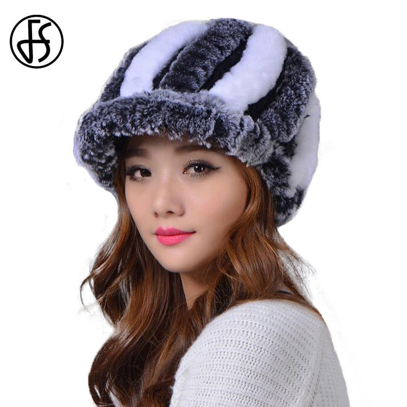 1432890f0e9 100% Rex Rabbit Fur Hat Women Winter Russian Cap Thick Warm Handmade Black  Gray Red White Brown Striped Female Caps