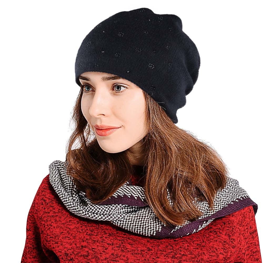 1e4ceb2a Load image into Gallery viewer, 2018 Black Pink Knitted Winter Hats For  Women Cashmere Thick ...