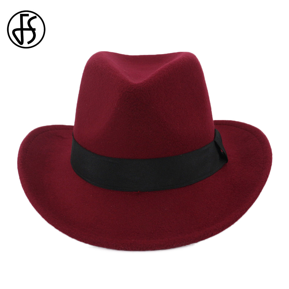2018 Cowboy Hats Unisexs Wo Wine red Black Vintage Trilby Felt Top Hat  Curling Brim Ladies Winter fedoras With Ribbon f61bf468c93