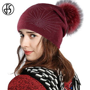 c0c75ec4b5601b 2018 Knitted Winter Hats For Women Elegant Wo Cot Womens Beanies With  Pompom White Black Slouchy