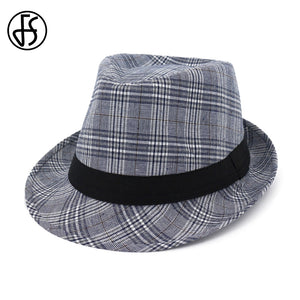 a557221f362 2018 Summer Gray Black Fedora Hats For Men Women Striped Vintage Wide Brim  Jazz Church Cap