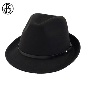 Autu Black Red Felt Hats Women Men Vintage Fedora Gentleman Gangster Hat  Godfather Church Wide Brim f0bf91d1db2