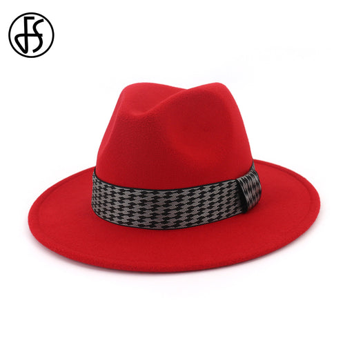 Autu Wo Red Black Ladies Winter Fedoras Hats For Men Top Jazz Hat European Round Cap Trilby Wide Brim With Weave Band