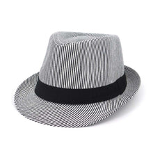 Load image into Gallery viewer, Beige Black Fedora Hats For Men Striped Summer Trilby Vintage  Wide Brim Hat Felt Women Church Sunshade Caps With Ribbon