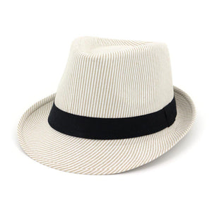 Beige Black Fedora Hats For Men Striped Summer Trilby Vintage  Wide Brim Hat Felt Women Church Sunshade Caps With Ribbon