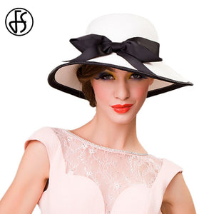 Black White Bowknot Ladies Summer Hats Wide Brim Foldable Sun Hat Woman  Beach Cap Casual Outdoor Floppy Straw Femme Fashion 8e9a168691dd