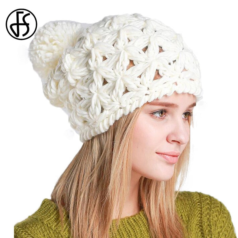 bf4a8268095 Black White Knit Hat Women Slouchy Beanie For Ladies Pompom Hats Knitted  Hollow Out Autu Winter Cap Female Gorros Bonnets