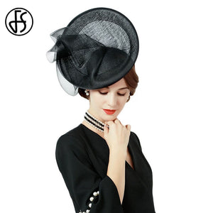 814e8574dbc76 British Black Fascinators Women Sinamay Church Hats Ladies Formal Cocktail  Kentucky Derby Fedora Hat Wedding Chapeu