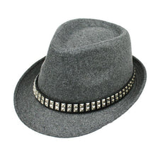 Load image into Gallery viewer, Classic Autu Winter Mens Wo Hat Jazz Fedora With Belt Women Wide Brim Trilby Black Gray Brown Felt Top Hats Gentleman