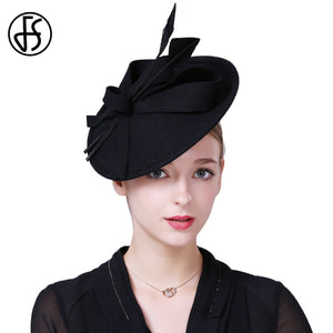 a44843f9e5c Fascinators Winter Hats For Women Elegant Black Wine Red Wo Felt Pillbox Hat  Girls Lady Formal Church Wedding Dress Fedoras