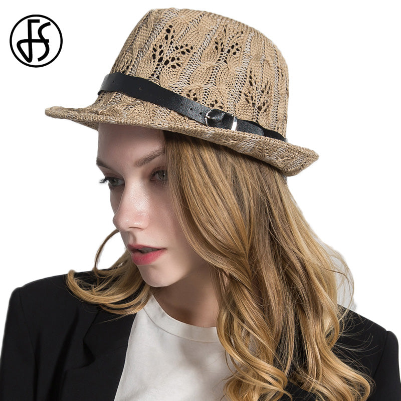 9966cca0 Hollow Out Black Ladies Fedoras Trilby Hats With Belt For Women Men Summer  Sombreros Classic Panama Jazz West Cowboy Caps