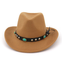 Load image into Gallery viewer, Khaki Black Fedora Hats For Men Cot Lady Winter Fedoras Top Vintage Hat Western Cowboy Style Wide Brim With Emerald Belt
