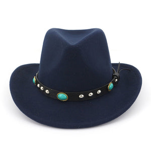Khaki Black Fedora Hats For Men Cot Lady Winter Fedoras Top Vintage Hat Western Cowboy Style Wide Brim With Emerald Belt