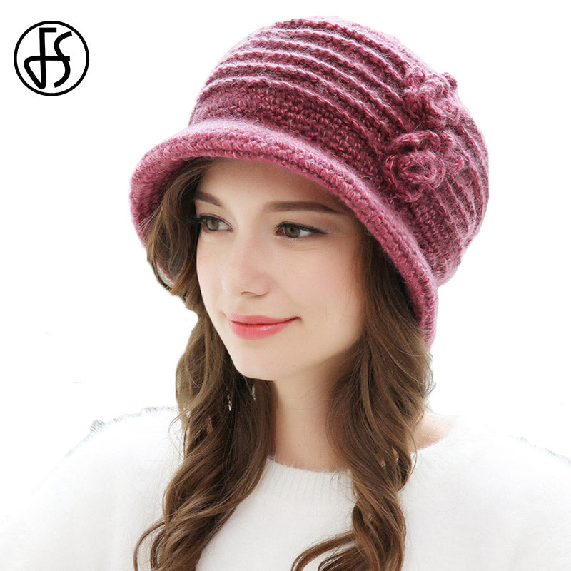 Knitted Hat Women Autu Ladies Thick Winter Beanie Hats Warm Skullies Beanies Solid Color Elegant Flower Red Blue Wo Caps