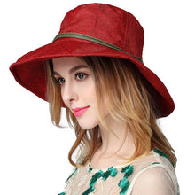Load image into Gallery viewer, Ladies Hat Summer Beach Wide Brim Foldable Sun Hats For Women Floppy Fashion Breathable Outdoor Visor Cap Sombrero Mujer