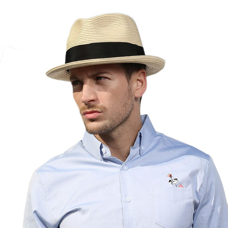 11b96cbd64d Summer Beach Panama Hat Men Straw Wide Brim Sun Hats For Mens Casual Trilby  Gangster Fedora Male Jazz Sombrero Chapeau Femme