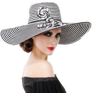 9044e245d405f Summer Hand Made Large Brim Straw Hat For Ladies Kentucky Derby Hats  Fascinators Black White Flower
