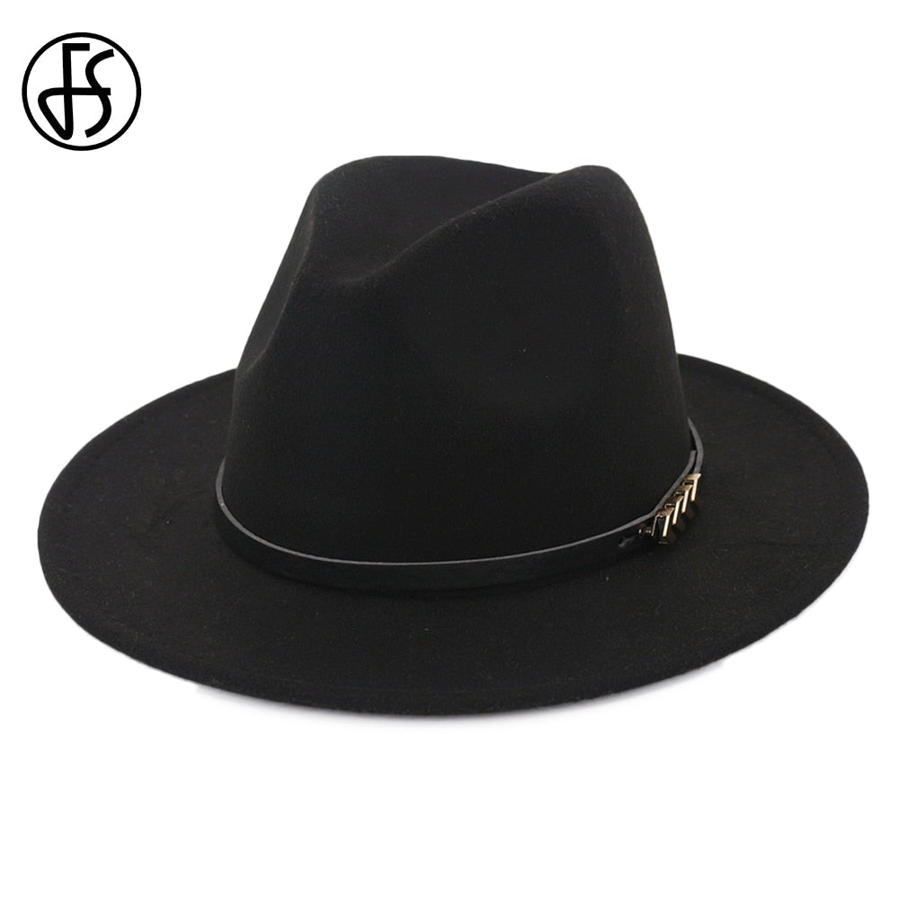 Unisex British Style Black Fedora Hat For Men Godfather Wide Brim Womens Winter Church Hats Top Jazz Cap With Leather Ribbon