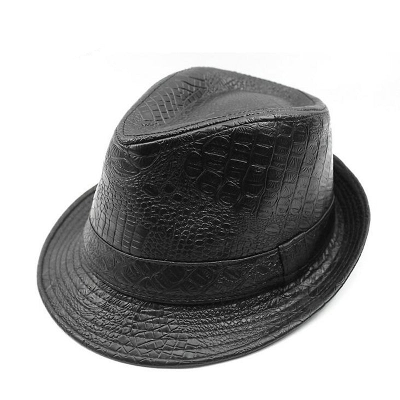 Unisex Vintage Wide Brim Fedora Hats For Men Pu Leather Hat Women Winter Black Gray Brown Trilby Jazz Caps Chapeau Homme
