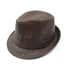 Load image into Gallery viewer, Unisex Vintage Wide Brim Fedora Hats For Men Pu Leather Hat Women Winter Black Gray Brown Trilby Jazz Caps Chapeau Homme