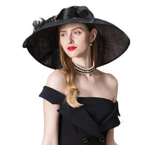 09bdd91c881c5 Vintage Black Fascinator Sinamay Church Hats Women Elegant Lady Large Wide  Brim Linen Kentucky Derby Fedoras With Flower
