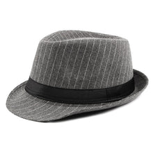 Load image into Gallery viewer, Vintage Striped Felt Hat Wide Brim Gangster Hats For Men 2018 Stylish Trilby Spring Autumn Mens Classic Ribbon Band Fedoras