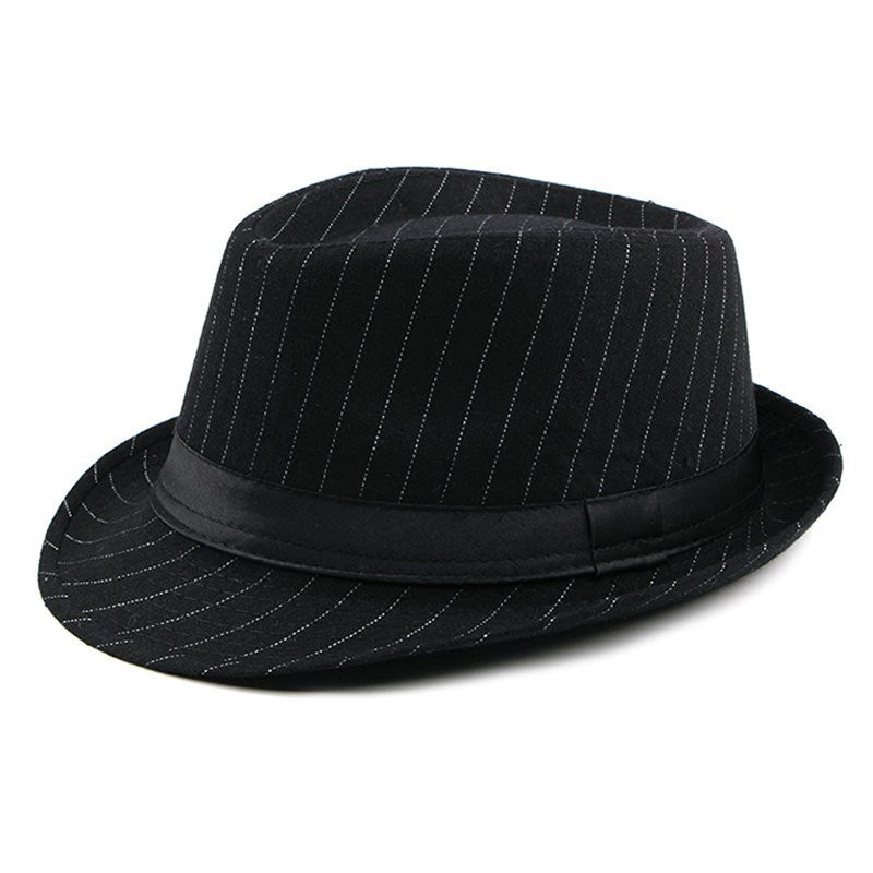Vintage Striped Felt Hat Wide Brim Gangster Hats For Men 2018 Stylish Trilby Spring Autumn Mens Classic Ribbon Band Fedoras