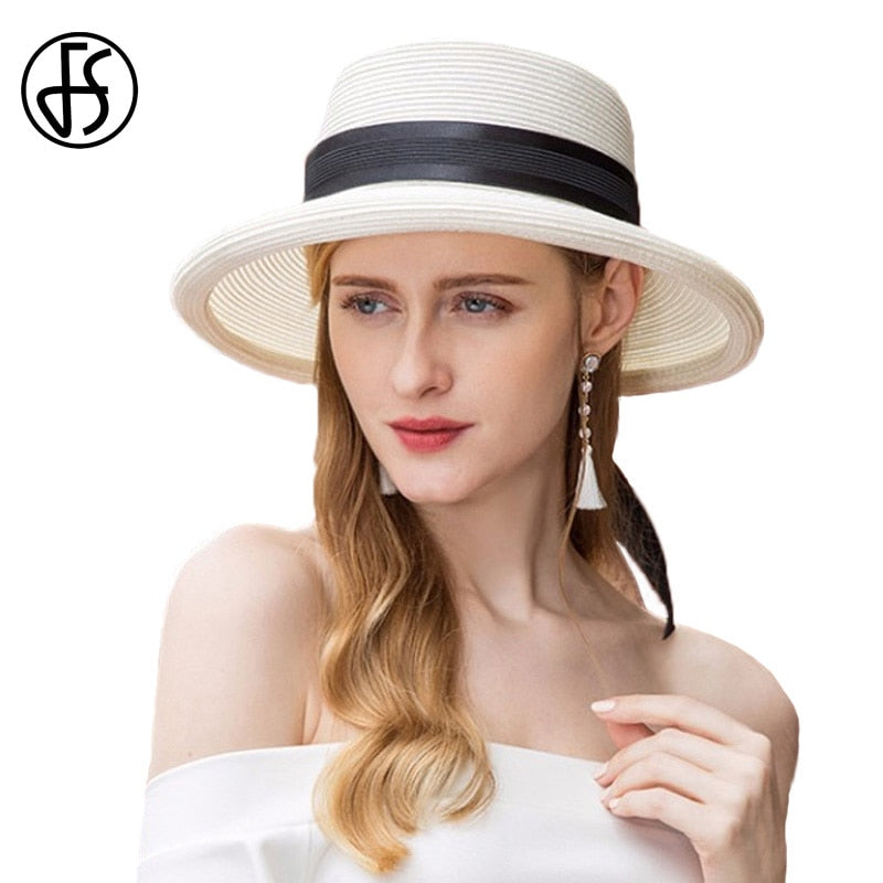 White Sun Summer Hat For Women Straw Hats Black Ribbon Beach 2018 Outdoor  Travel Wide Brim Floppy Visor Caps Sombrero Mujer 9ee89fa7c94