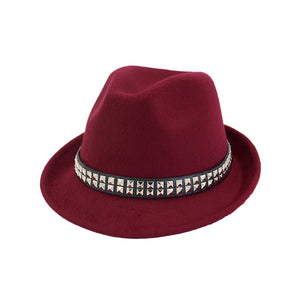 Winter Autumn Black Red Fedora Hat For Men Wo Top Jazz Hats Casual Wide Brim Vintage Women Church Elegant Cap With Rivet