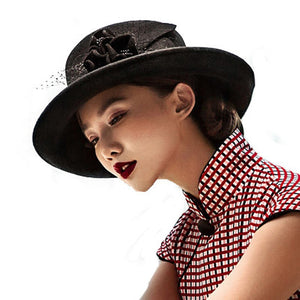 Winter Black Wide Brim Fedora Hats Australia Wo Women Bowler Hat Floppy Elegant Floral Mesh Gauze Ladies Bintage Cloche Cap