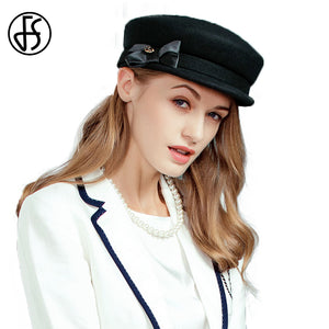 bb2395484 Women 100% Wo Felt Hat Black 2017 Fashion Fall Winter Hats Vintage Literary Military  Hats For Lady Flat Cap Chapeu Gorra Ca