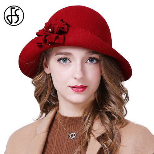 6d958498388 Women Hat Autu 100% Wo Elegant Red Blue Black Fedoras Vintage Wide Brim  Ladies Felt
