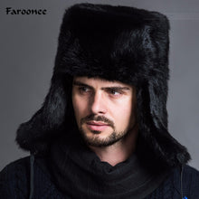 Load image into Gallery viewer, Winter New Fashion Male Mens Warm Fur Bomber Hats Black Brown Solid Thicken Earflap Caps Leifeng Snow Hats Hot S4447