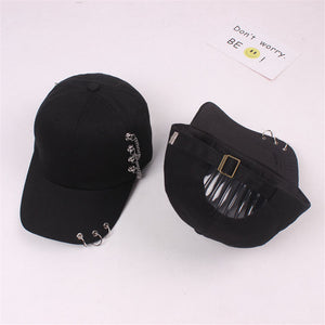 Fashion 2017 new style hot selling iron ring zipper Hats  adjustable   Baseball cap unipue style unisex