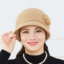 Load image into Gallery viewer, Fashion 2020 Women Lady Winter Warm Caps Beautiful Crochet Knitted Flowers Decorated Ears Hat winter hats for women