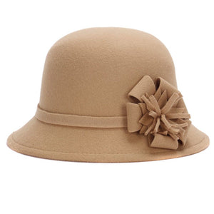 Fashion Autumn Winter Women Fedora Hat Imitation Woolen Flower Vintage Keep Warm Bucket Cap Ladies Girls Bowler Hats JL