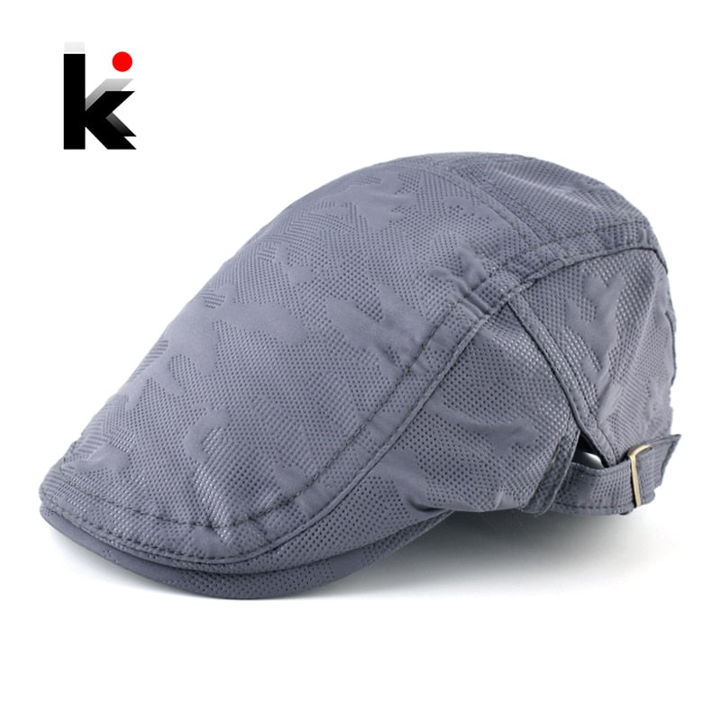 Fashion Berets Spring Autu 100% Cot Visors Caps Men Personality Patching Color Peaked Cap Male Breathable Flat Boinas Hats