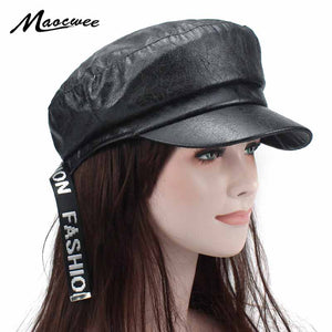 Fashion Black Hat Cap Women Casual PU Flat Fedora Berets Cap Elegant Solid Autu Winter Warm Beret Hat Female Panama Wholesale