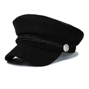 5500ca9723608 Fashion Blank Black High Quality Military Hat for Women Spring Autu Winter  Hats Felt Cap Winter Ladies Black Hat Beret Cap