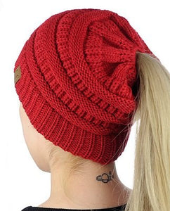 Fashion CC Ponytail Beanie Hats For Women Winter Cap Knitted Skullies Beanies Warm Caps Female Knit Stylish Girls Hat For Ladies